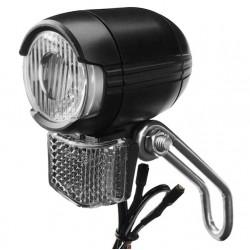 Lampa przednia /dynamo/ na widelec 259A, z wyłącznikikiem, z podtrzymaniem, odblask 1W, czarna